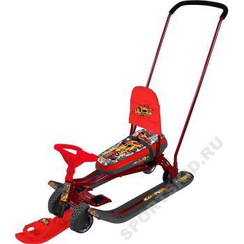 Снегокат Тимка спорт 6 Граффити красный с механизмом выдвижных колесных шасси