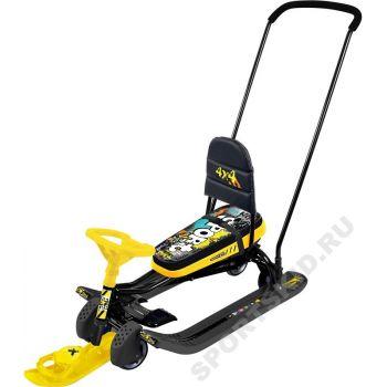 Снегокат Тимка спорт 6 Граффити желтый с механизмом выдвижных колесных шасси