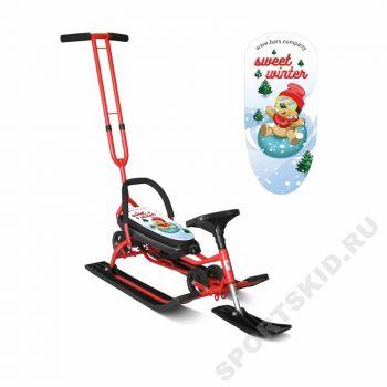 Снегокат Mobile Sweet Winter Red с Т-образным толкателем и колесной базой