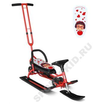 Снегокат Mobile Красный с Т-образным толкателем и колесной базой